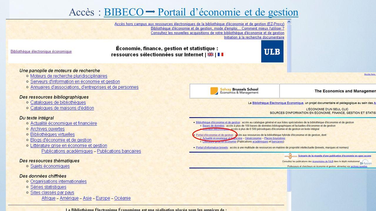 Accès : BIBECO Portail déconomie et de gestionBIBECO Portail déconomie et de gestion