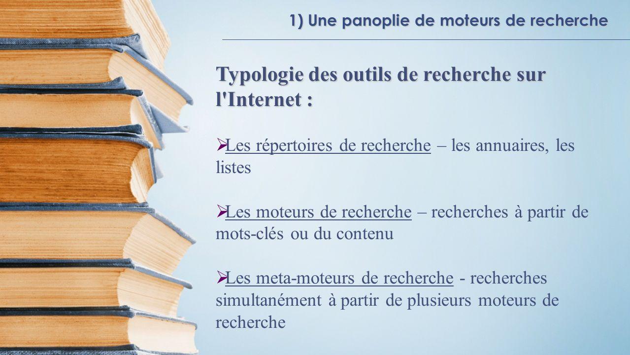 1) Une panoplie de moteurs de recherche Typologie des outils de recherche sur l'Internet : Les répertoires de recherche – les annuaires, les listes Le