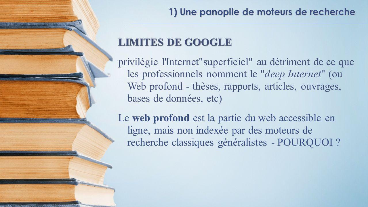 1) Une panoplie de moteurs de recherche LIMITES DE GOOGLE privilégie l'Internet