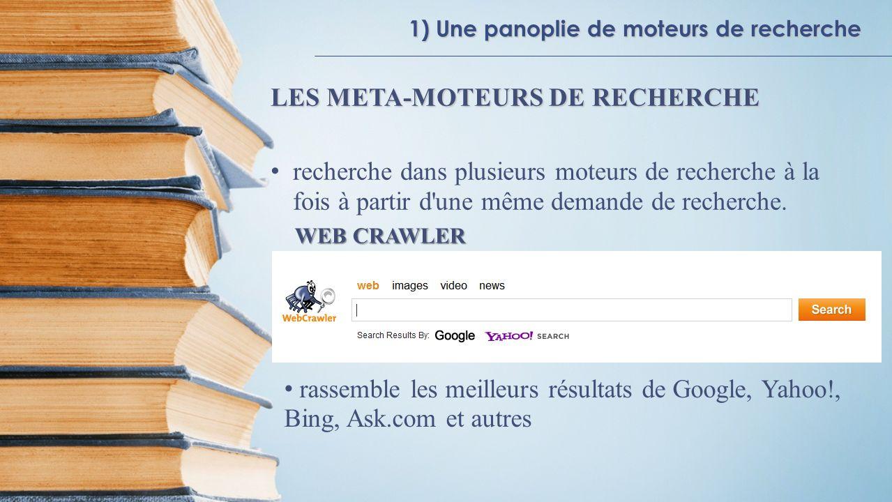 1) Une panoplie de moteurs de recherche LES META-MOTEURS DE RECHERCHE recherche dans plusieurs moteurs de recherche à la fois à partir d'une même dema