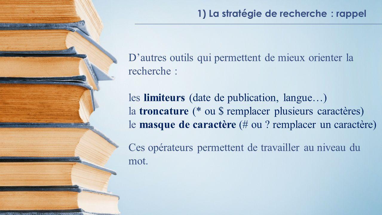 1) La stratégie de recherche : rappel Trouver le full-texte en un click