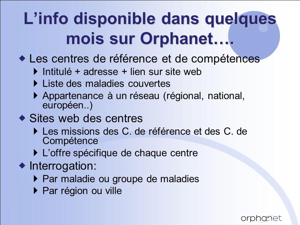 Linfo disponible dans quelques mois sur Orphanet….