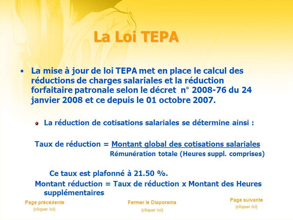 La Loi TEPA La mise à jour de loi TEPA met en place le calcul des réductions de charges salariales et la réduction forfaitaire patronale selon le décret n° 2008-76 du 24 janvier 2008 et ce depuis le 01 octobre 2007.