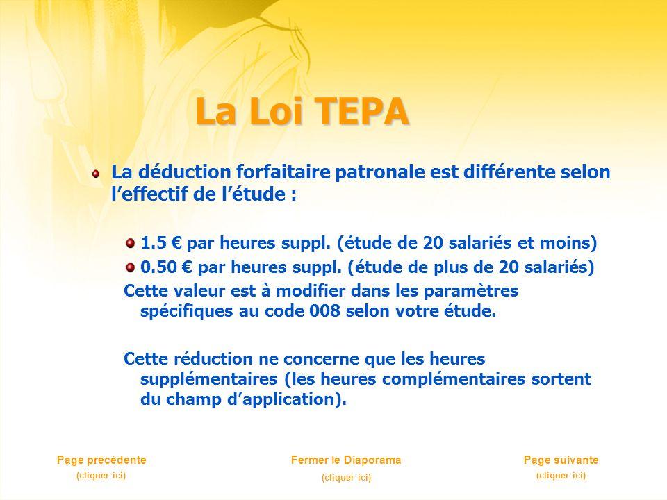 La Loi TEPA La déduction forfaitaire patronale est différente selon leffectif de létude : 1.5 par heures suppl. (étude de 20 salariés et moins) 0.50 p