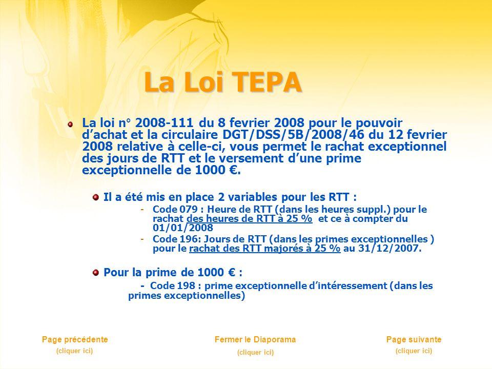 La Loi TEPA La loi n° 2008-111 du 8 fevrier 2008 pour le pouvoir dachat et la circulaire DGT/DSS/5B/2008/46 du 12 fevrier 2008 relative à celle-ci, vous permet le rachat exceptionnel des jours de RTT et le versement dune prime exceptionnelle de 1000.