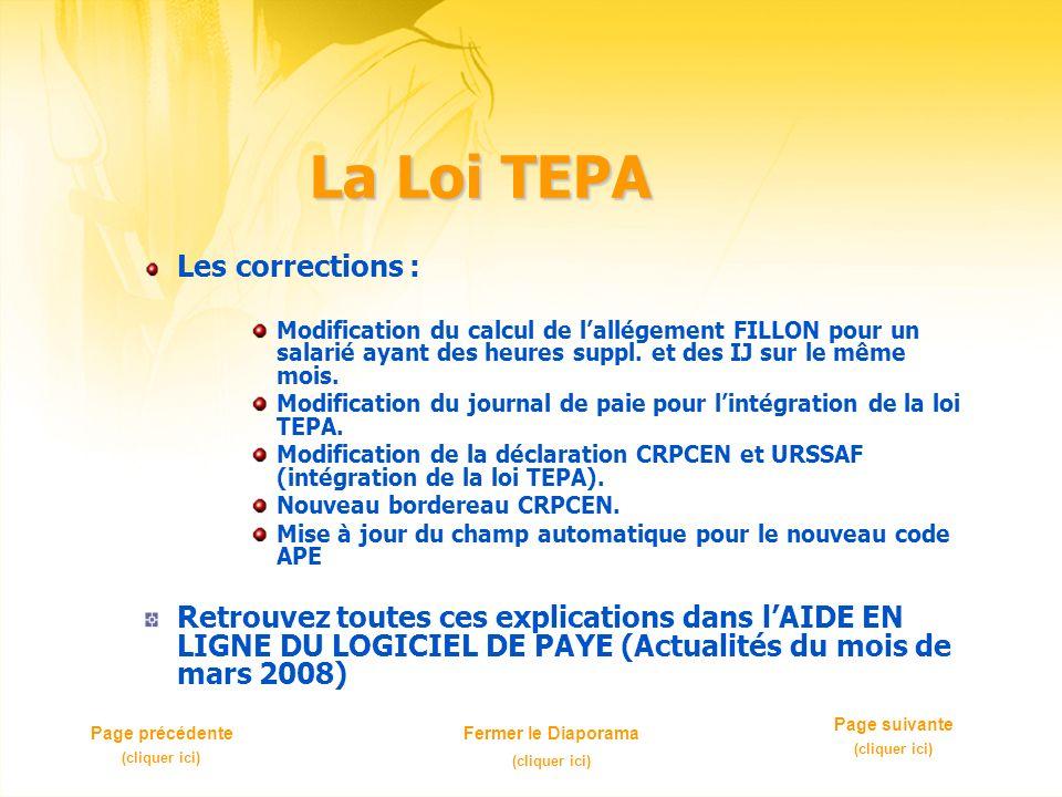 La Loi TEPA Les corrections : Modification du calcul de lallégement FILLON pour un salarié ayant des heures suppl. et des IJ sur le même mois. Modific