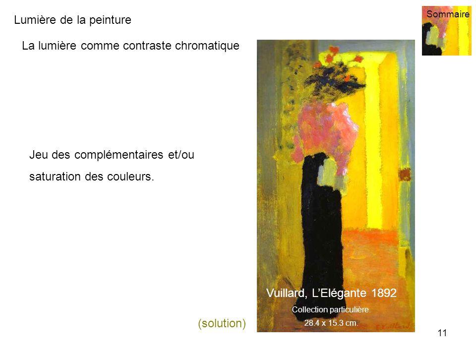 Lumière de la peinture Sommaire 11 La lumière comme contraste chromatique Jeu des complémentaires et/ou saturation des couleurs. Vuillard, LElégante 1
