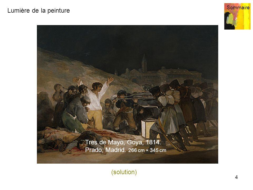 Lumière de la peinture Sommaire 4 Tres de Mayo, Goya, 1814. Prado, Madrid. 266 cm × 345 cm (solution)