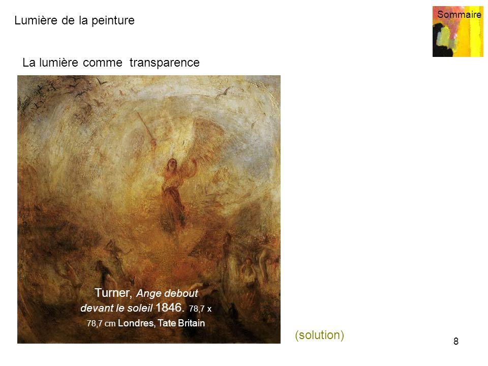 Lumière de la peinture Sommaire 8 La lumière comme transparence Turner, Ange debout devant le soleil 1846. 78,7 x 78,7 cm Londres, Tate Britain (solut
