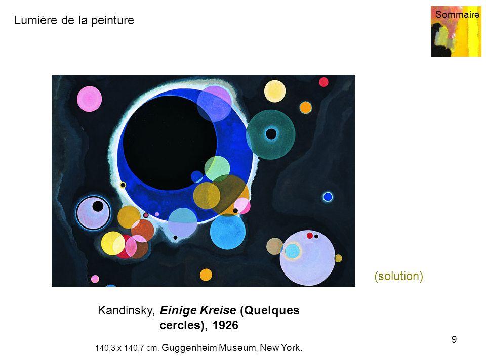 Lumière de la peinture Sommaire 9 Kandinsky, Einige Kreise (Quelques cercles), 1926 140,3 x 140,7 cm. Guggenheim Museum, New York. (solution)