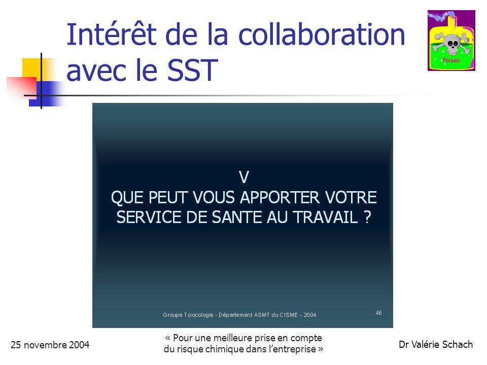 25 novembre 2004 « Pour une meilleure prise en compte du risque chimique dans lentreprise » Dr Valérie Schach Intérêt de la collaboration avec le SST