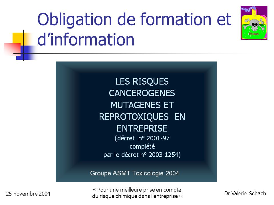 25 novembre 2004 « Pour une meilleure prise en compte du risque chimique dans lentreprise » Dr Valérie Schach Définition
