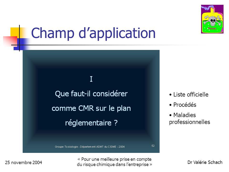 25 novembre 2004 « Pour une meilleure prise en compte du risque chimique dans lentreprise » Dr Valérie Schach Champ dapplication Liste officielle Procédés Maladies professionnelles