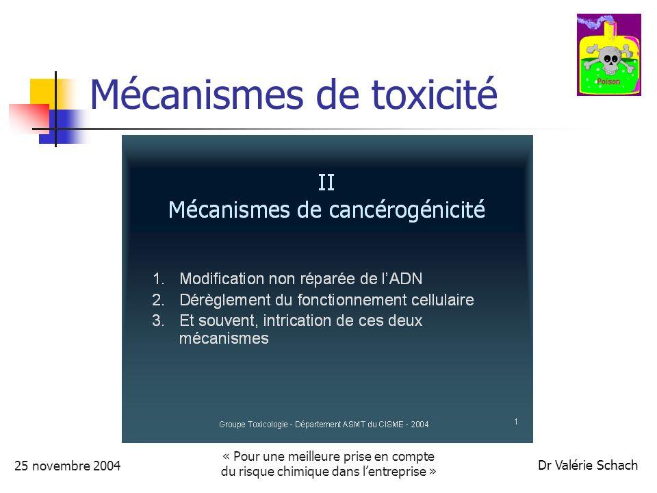 25 novembre 2004 « Pour une meilleure prise en compte du risque chimique dans lentreprise » Dr Valérie Schach Mécanismes de toxicité