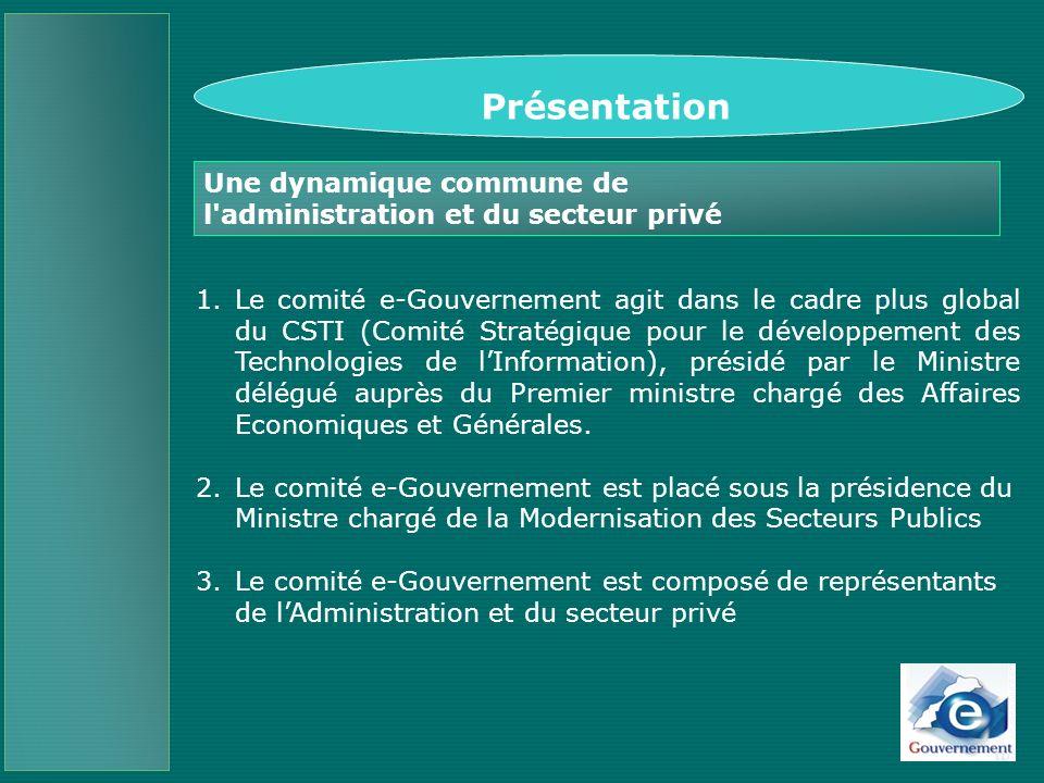 Objectifs du Comité e-Gouvernement IDARATI Bilan des avancées déjà réalisées Stratégie Plan daction 2005- 2008 Une dynamique commune de l administration et du secteur privé