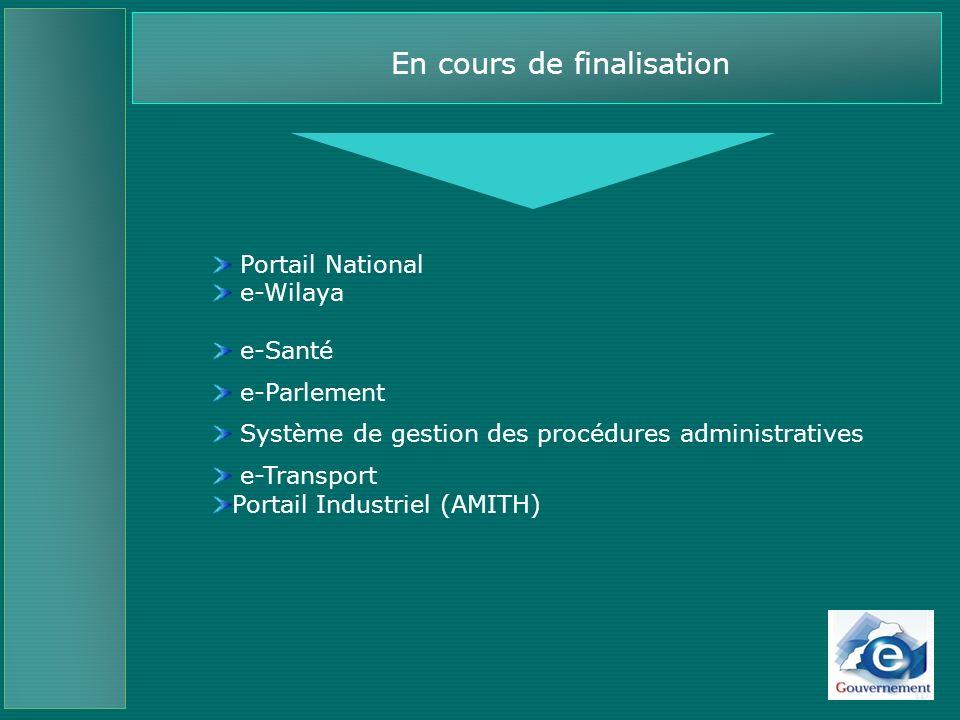 Des axes de développement au service de tous Plan Stratégique (2005-2008) 180 projets identifiés Services transversaux : Portail national (composante institutionnelle et composante administrative); (MAEG, COMMUNICATION, MMSP) Portail des villes e-Wilaya (Casa, Agadir, El Jadida…) (MAEG); Système e-Parlement (MAEG); Annuaire de lAdministration publique (MMSP) Marchés et bons de commande publics (CGED) Carte multifonction professionnelle (MMSP) e-Learning (Education Nationale) Patrimoine de lAdministration en ligne (MMSP) Centre dappels dassistance aux usagers (MMSP) …