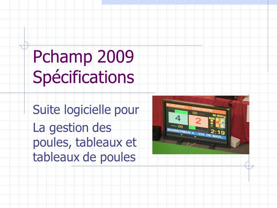 Pchamp 2009 Spécifications Suite logicielle pour La gestion des poules, tableaux et tableaux de poules