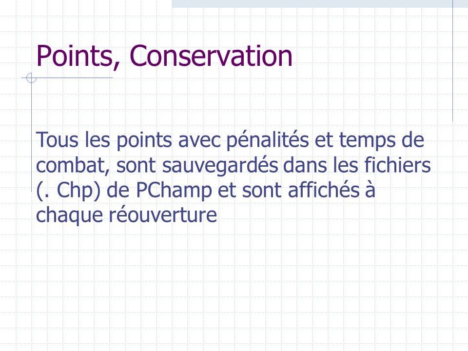 Points, Conservation Tous les points avec pénalités et temps de combat, sont sauvegardés dans les fichiers (. Chp) de PChamp et sont affichés à chaque