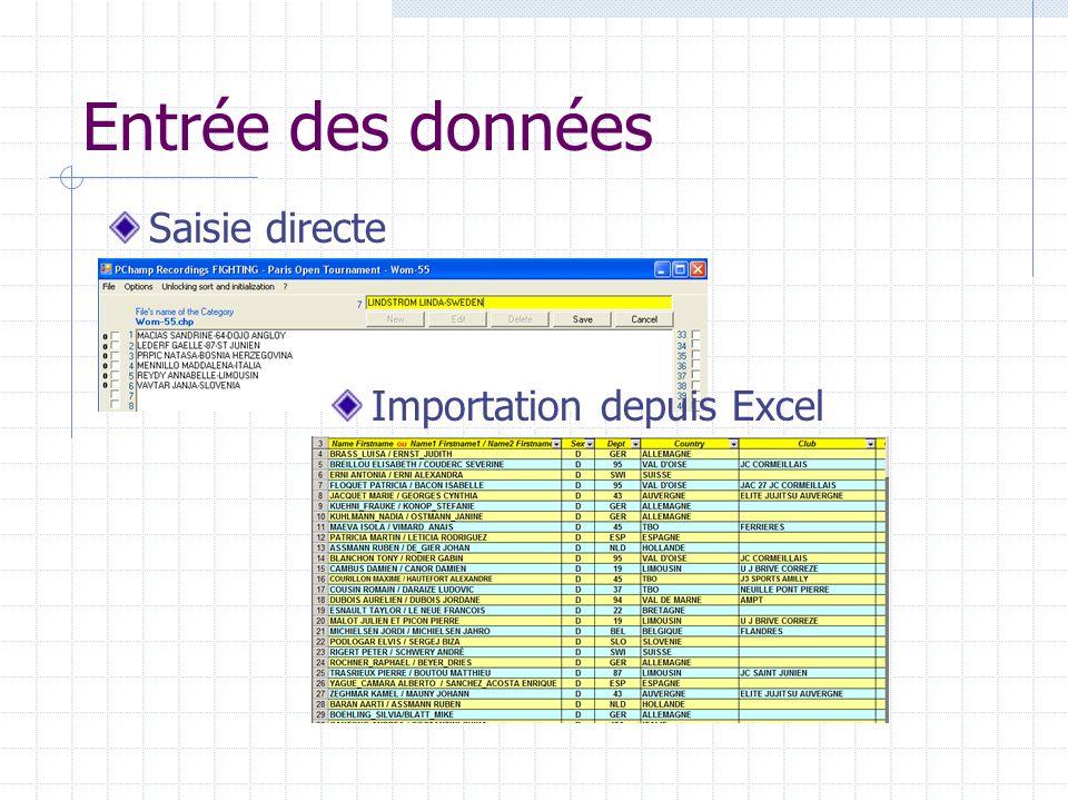 Entrée des données Saisie directe Importation depuis Excel