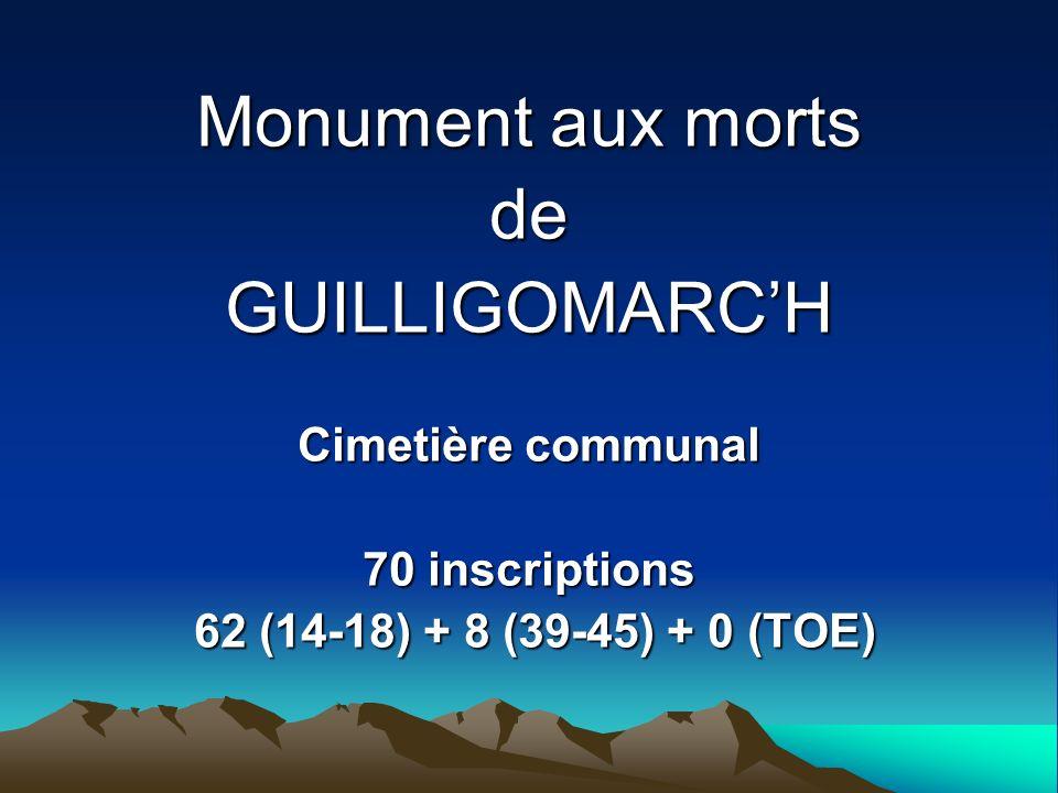 GOADEC Louis Né le 15.10.1875 à ST-CARADEC-TREGLOMEL (56) Mort pour la France le 15.03.1916 à GUILLIGOMARCH (29) Décédé dans ses foyers