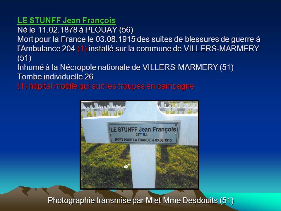 LE MENTEC François Marie Né le 13.04.1895 à PLOUAY (56) Mort pour la France le 05.10.1915 à PARIS 8 ème (75) Inhumé au Carré militaire de PANTIN (93)