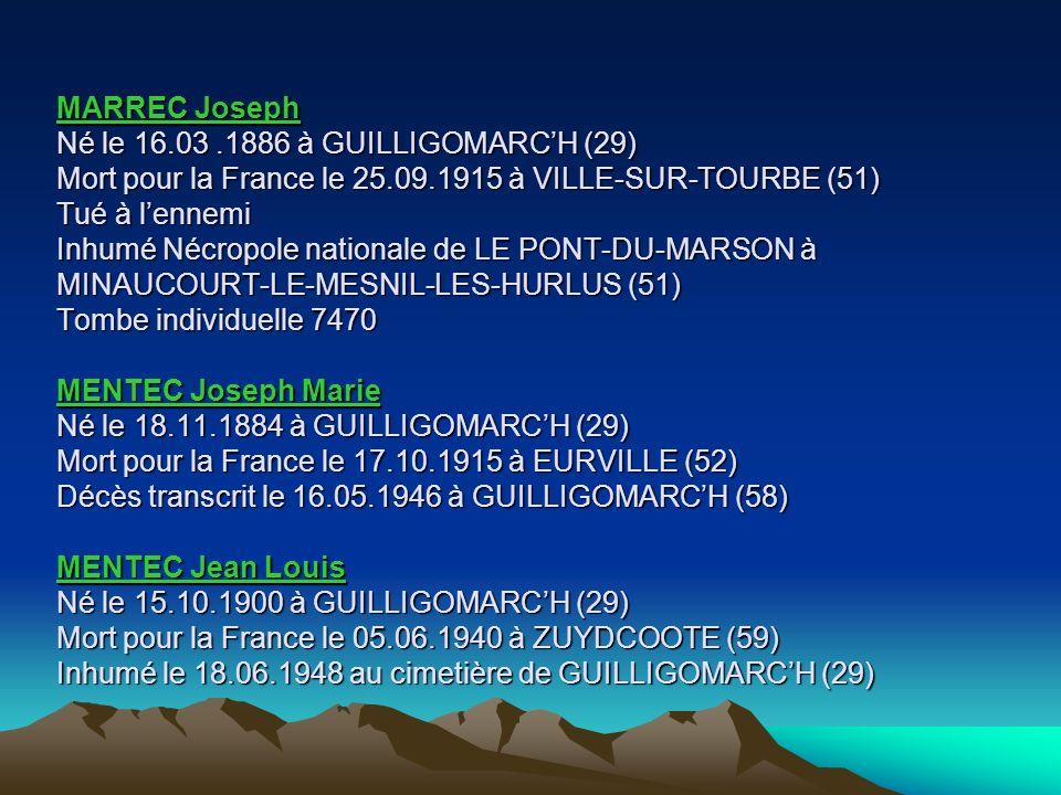 LE STUNFF Jean François Né le 11.02.1878 à PLOUAY (56) Mort pour la France le 03.08.1915 des suites de blessures de guerre à lAmbulance 204 (1) instal