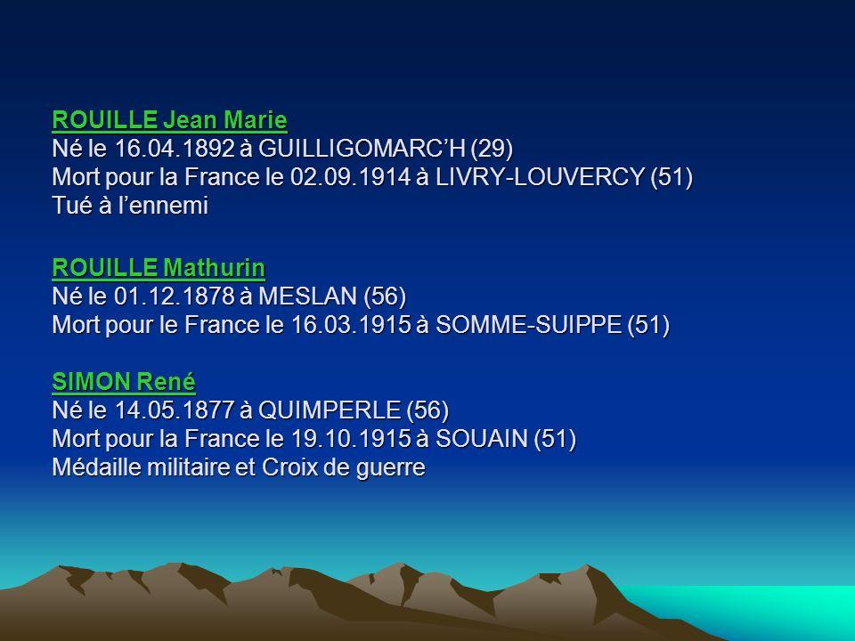 PIQUET Jean Né le 31.10.1913 à GUILLIGOMARCH (29) Mort pour la France le 03.07.1944 Exécuté par les Allemands à GUILLIGOMARCH (29) Inhumé le 06.07.194