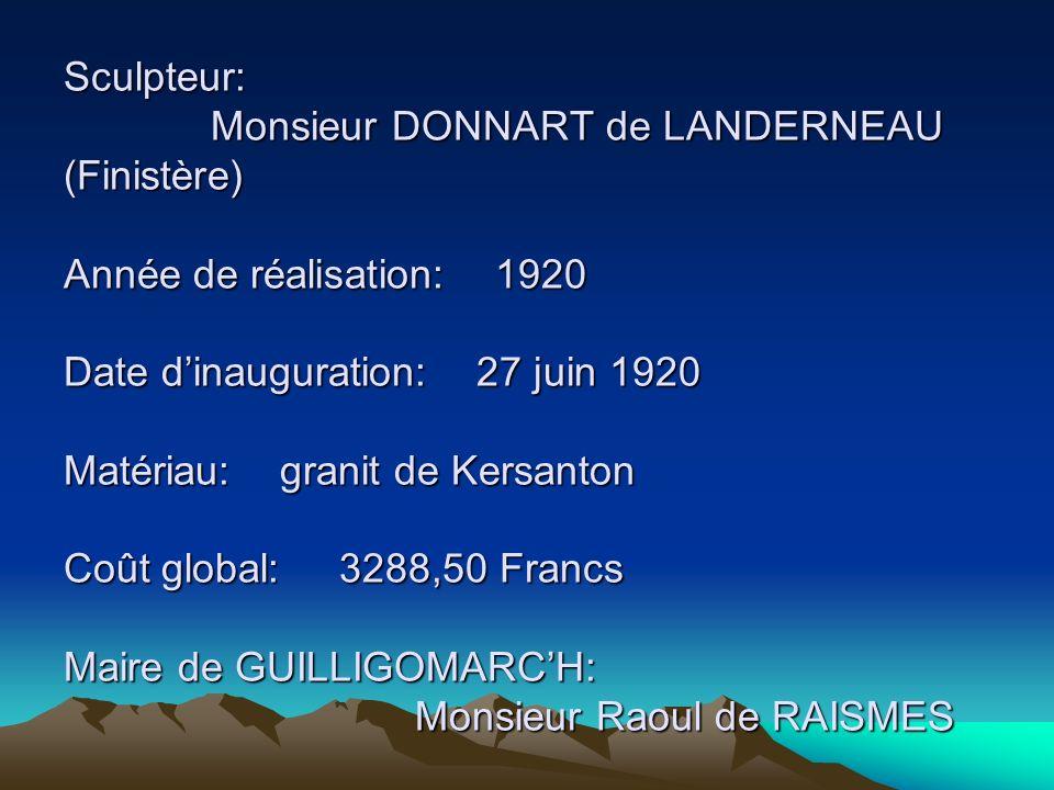 Sculpteur: Monsieur DONNART de LANDERNEAU (Finistère) Année de réalisation: 1920 Date dinauguration: 27 juin 1920 Matériau: granit de Kersanton Coût global: 3288,50 Francs Maire de GUILLIGOMARCH: Monsieur Raoul de RAISMES