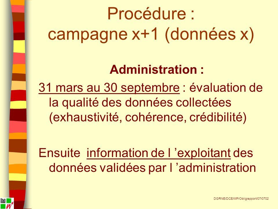 Procédure : campagne x+1 (données x) Administration : 31 mars au 30 septembre : évaluation de la qualité des données collectées (exhaustivité, cohérence, crédibilité) Ensuite information de l exploitant des données validées par l administration DGRNE/DCE/MP/Obligrapport/07/0702