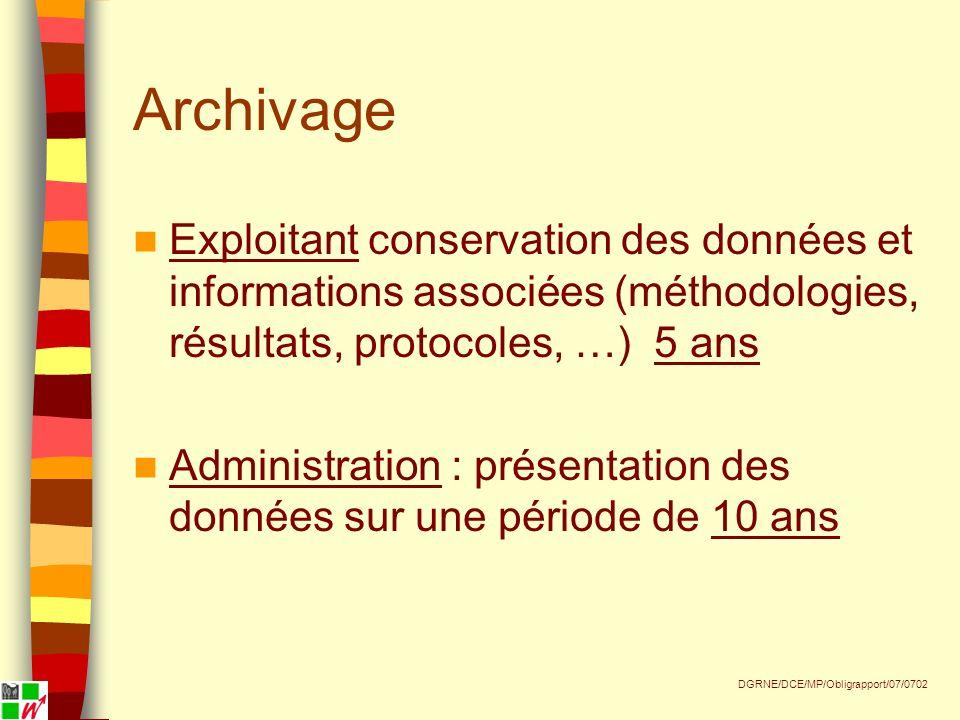 Archivage Exploitant conservation des données et informations associées (méthodologies, résultats, protocoles, …) 5 ans Administration : présentation des données sur une période de 10 ans DGRNE/DCE/MP/Obligrapport/07/0702