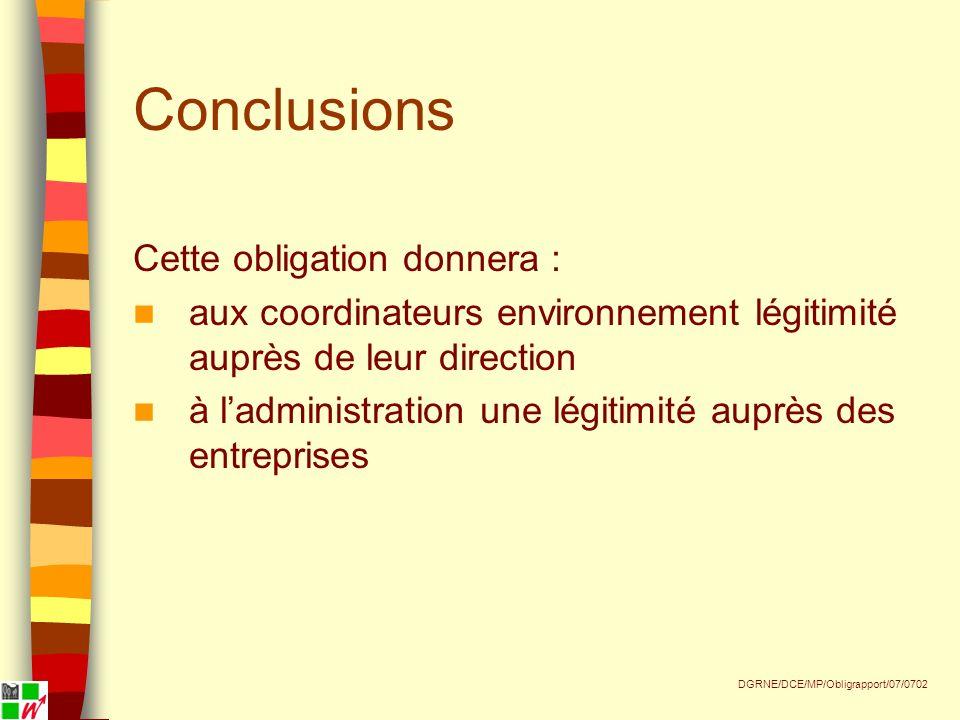 Conclusions Cette obligation donnera : aux coordinateurs environnement légitimité auprès de leur direction à ladministration une légitimité auprès des entreprises DGRNE/DCE/MP/Obligrapport/07/0702
