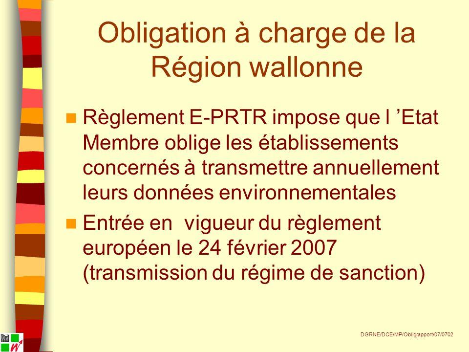 Obligation à charge de la Région wallonne Règlement E-PRTR impose que l Etat Membre oblige les établissements concernés à transmettre annuellement leurs données environnementales Entrée en vigueur du règlement européen le 24 février 2007 (transmission du régime de sanction) DGRNE/DCE/MP/Obligrapport/07/0702