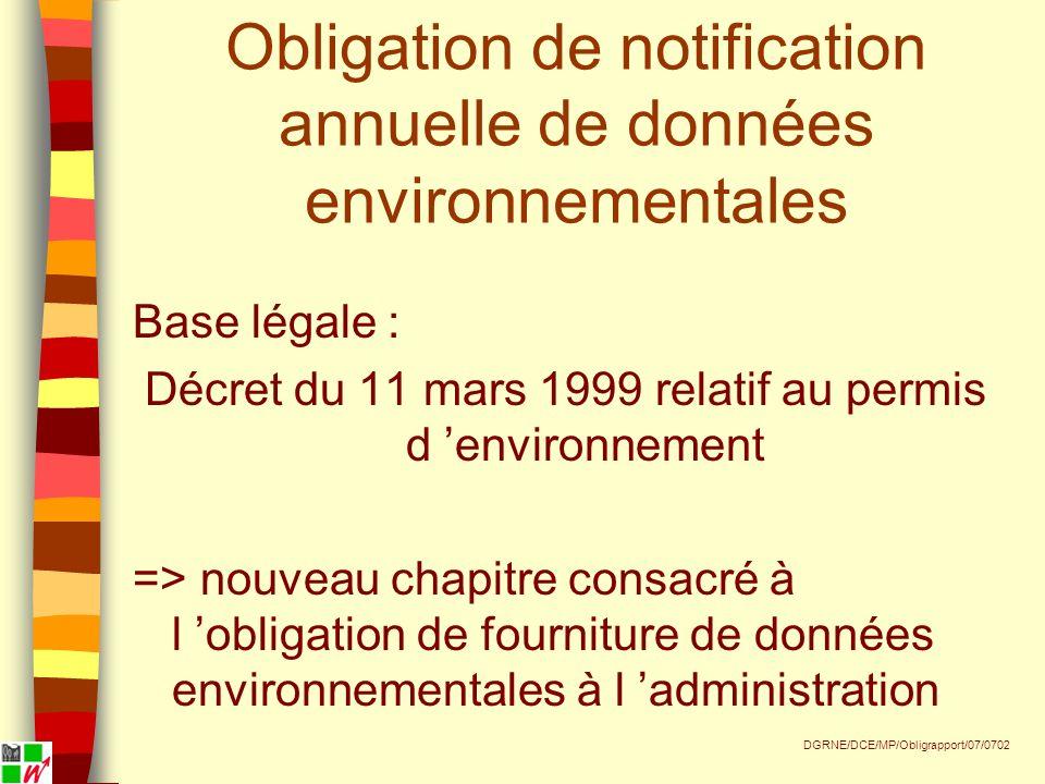 Obligation de notification annuelle de données environnementales Base légale : Décret du 11 mars 1999 relatif au permis d environnement => nouveau chapitre consacré à l obligation de fourniture de données environnementales à l administration DGRNE/DCE/MP/Obligrapport/07/0702