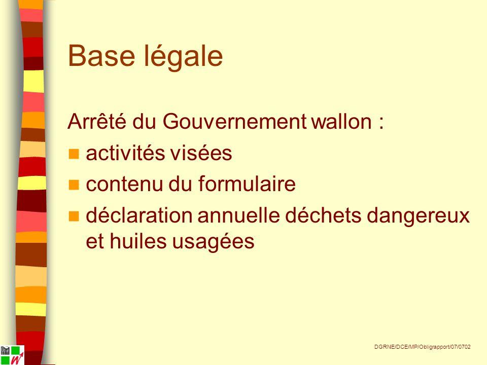 Base légale Arrêté du Gouvernement wallon : activités visées contenu du formulaire déclaration annuelle déchets dangereux et huiles usagées DGRNE/DCE/MP/Obligrapport/07/0702