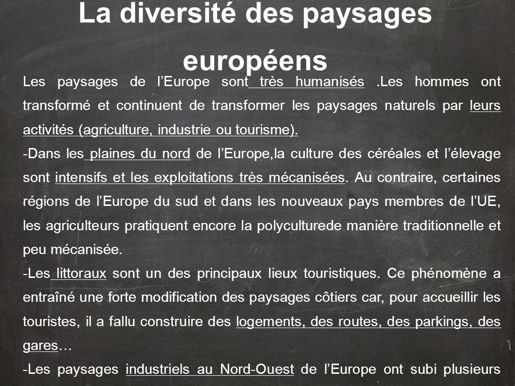 Les paysages de lEurope sont très humanisés.Les hommes ont transformé et continuent de transformer les paysages naturels par leurs activités (agricult