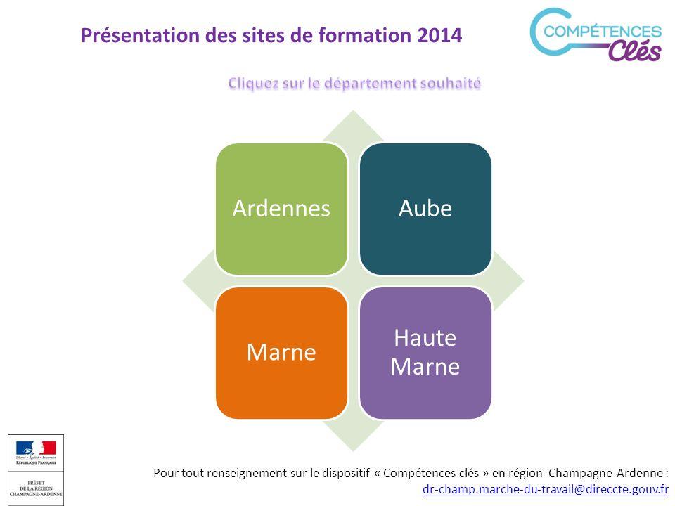Présentation des sites de formation 2014 ArdennesAubeMarne Haute Marne Pour tout renseignement sur le dispositif « Compétences clés » en région Champa