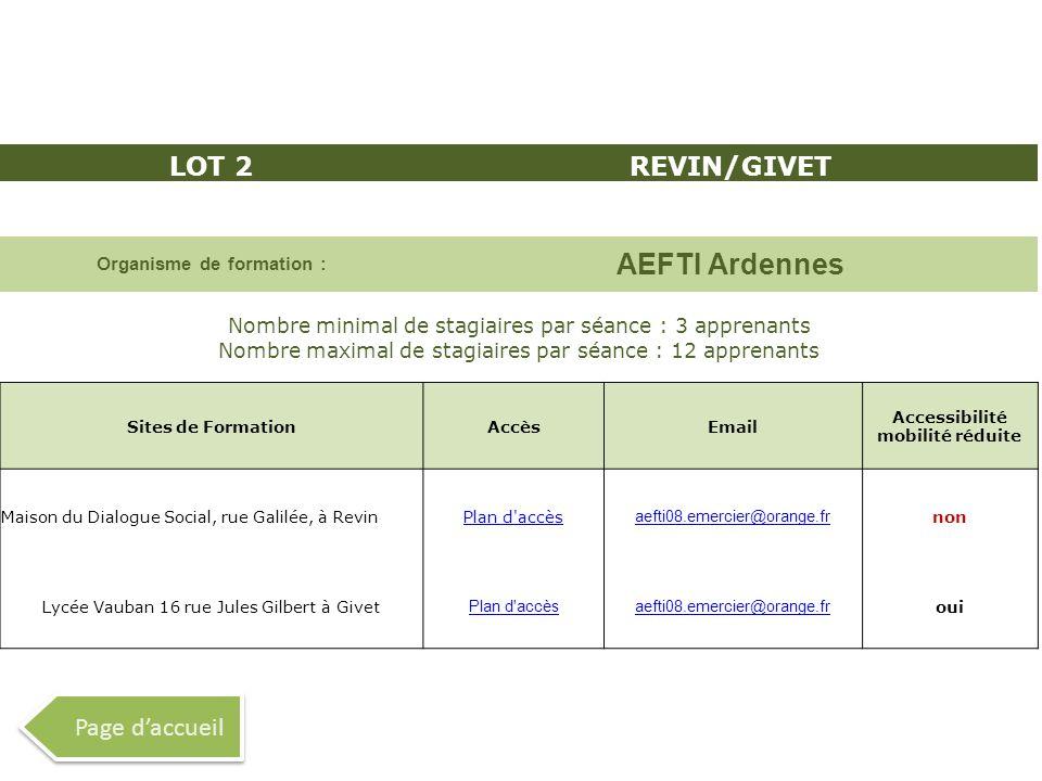 LOT 2REVIN/GIVET Organisme de formation : AEFTI Ardennes Nombre minimal de stagiaires par séance : 3 apprenants Nombre maximal de stagiaires par séanc