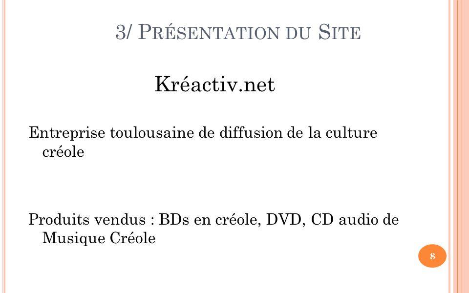 3/ P RÉSENTATION DU S ITE Kréactiv.net Entreprise toulousaine de diffusion de la culture créole Produits vendus : BDs en créole, DVD, CD audio de Musique Créole 8