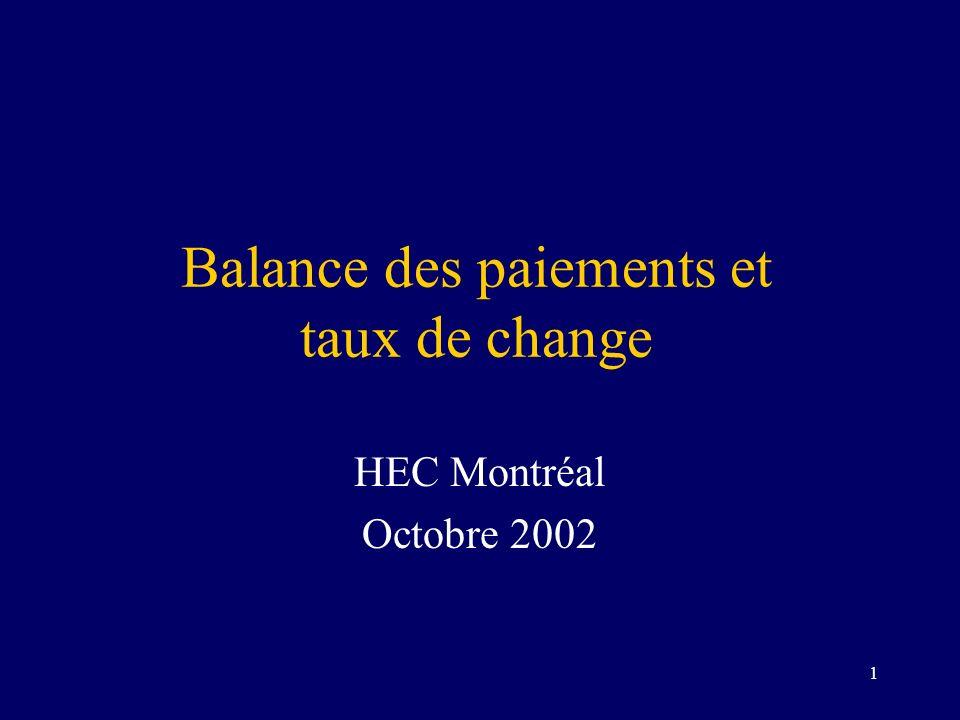 1 Balance des paiements et taux de change HEC Montréal Octobre 2002