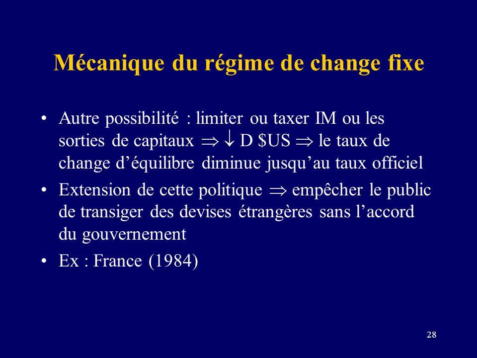 28 Mécanique du régime de change fixe Autre possibilité : limiter ou taxer IM ou les sorties de capitaux D $US le taux de change déquilibre diminue ju