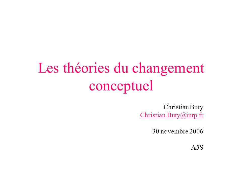 Les théories du changement conceptuel Christian Buty Christian.Buty@inrp.fr 30 novembre 2006 A3S