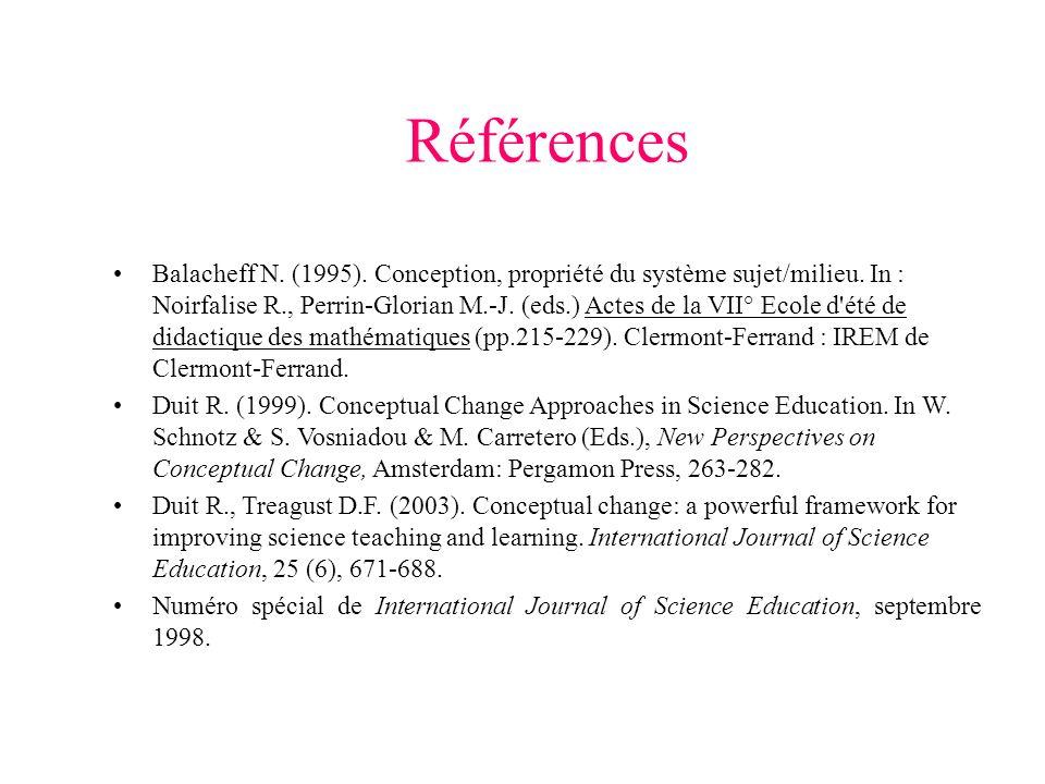 Références Balacheff N. (1995). Conception, propriété du système sujet/milieu.