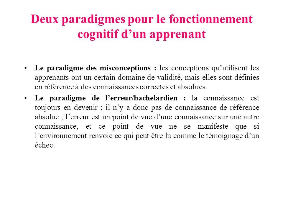 Deux paradigmes pour le fonctionnement cognitif dun apprenant Le paradigme des misconceptions : les conceptions quutilisent les apprenants ont un certain domaine de validité, mais elles sont définies en référence à des connaissances correctes et absolues.
