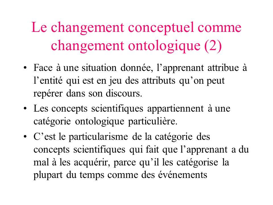 Le changement conceptuel comme changement ontologique (2) Face à une situation donnée, lapprenant attribue à lentité qui est en jeu des attributs quon peut repérer dans son discours.