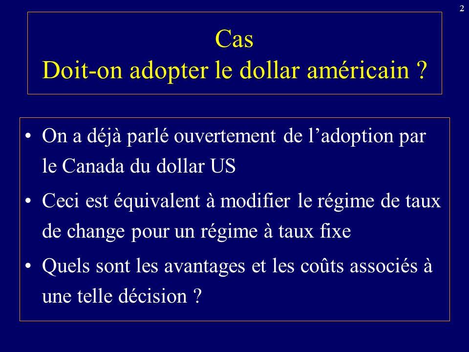 43 Transmission internationale des cycles: régime de change fixe Croissance aux USA ( PIB USA ) Marché des changes: EX D $Can la B.