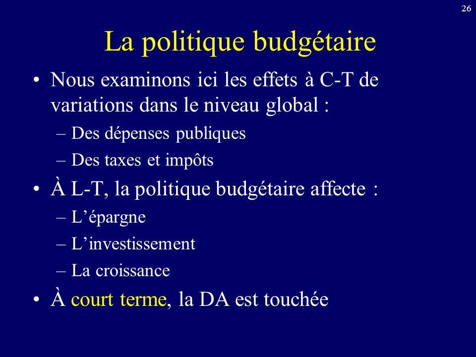 26 La politique budgétaire Nous examinons ici les effets à C-T de variations dans le niveau global : –Des dépenses publiques –Des taxes et impôts À L-T, la politique budgétaire affecte : –Lépargne –Linvestissement –La croissance À court terme, la DA est touchée