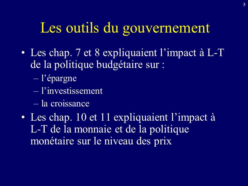 3 Les outils du gouvernement Les chap.