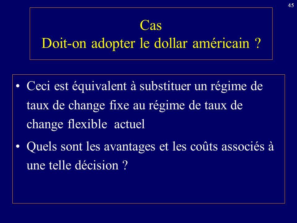 45 Cas Doit-on adopter le dollar américain .