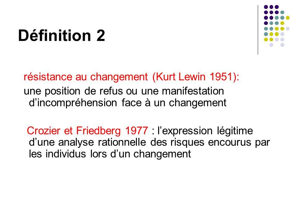 Définition 2 résistance au changement (Kurt Lewin 1951): une position de refus ou une manifestation dincompréhension face à un changement Crozier et Friedberg 1977 : lexpression légitime dune analyse rationnelle des risques encourus par les individus lors dun changement