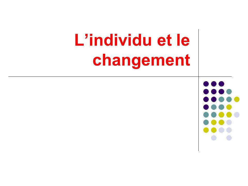 Lindividu est porteur de changements Lindividu a des façons différentes de percevoir et de vivre le changement quil subit